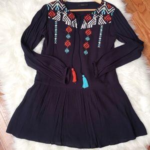 Boho Chic Embroidered Tassel Dress